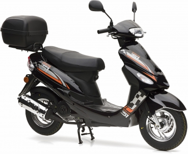 Nova Motors Energy 49ccm, Touring, Euro 4, schwarz-orange, 45km/h Mokick mit TopCase